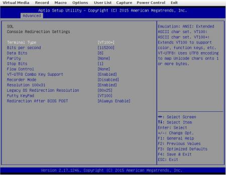 BIOS SOL redirection settings